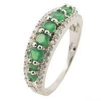 Серебряное кольцо DreamJewelry с натуральным агатом, изумрудом (0511160) 17 размер