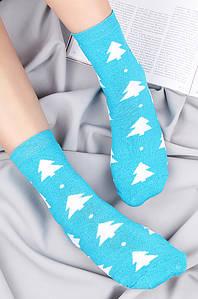 """Носки женские махровые голубые """"Елочки"""" размер 36-40 124378P"""