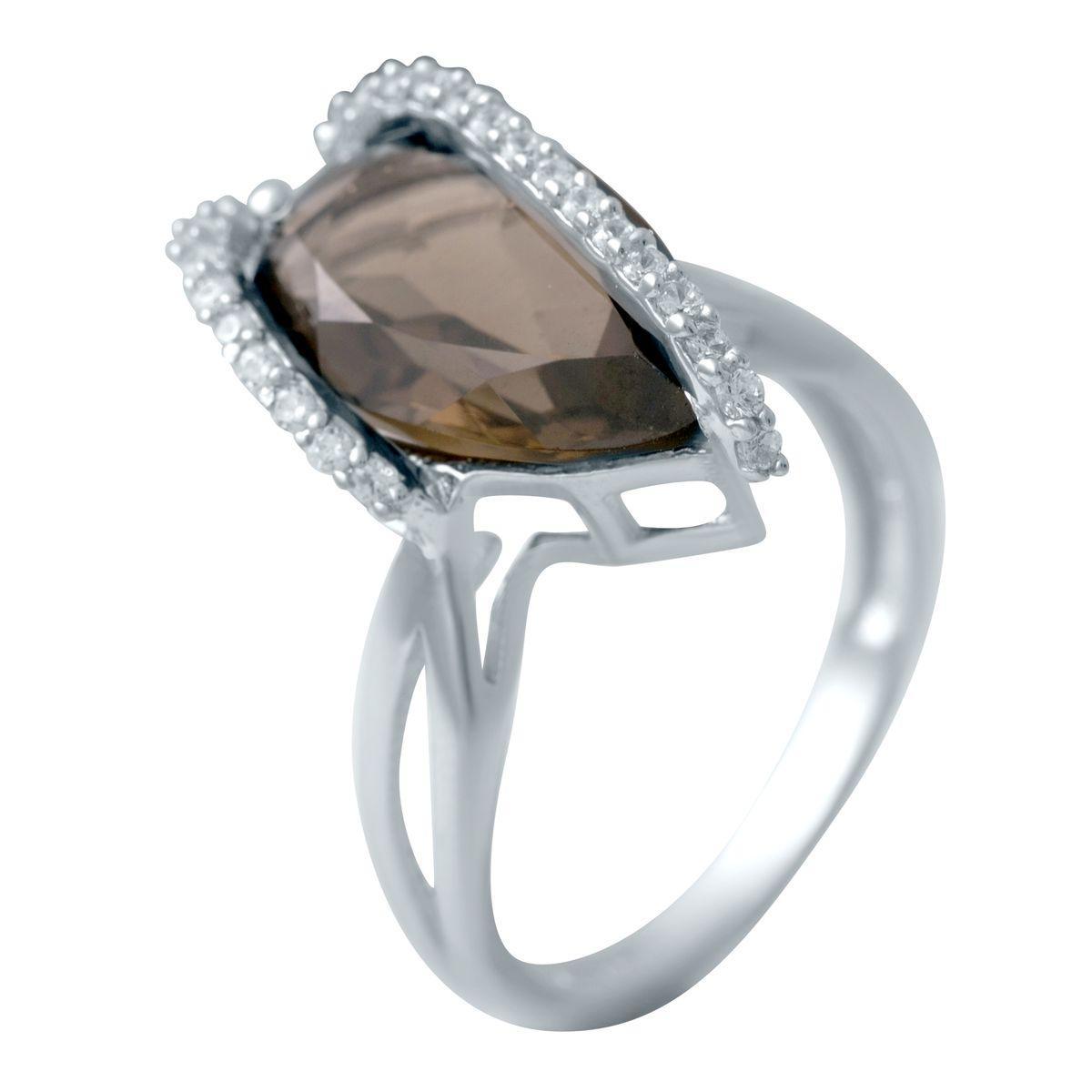 Серебряное кольцо DreamJewelry с натуральным раухтопазом (димчатим кварцем) (2033400) 17.5 размер