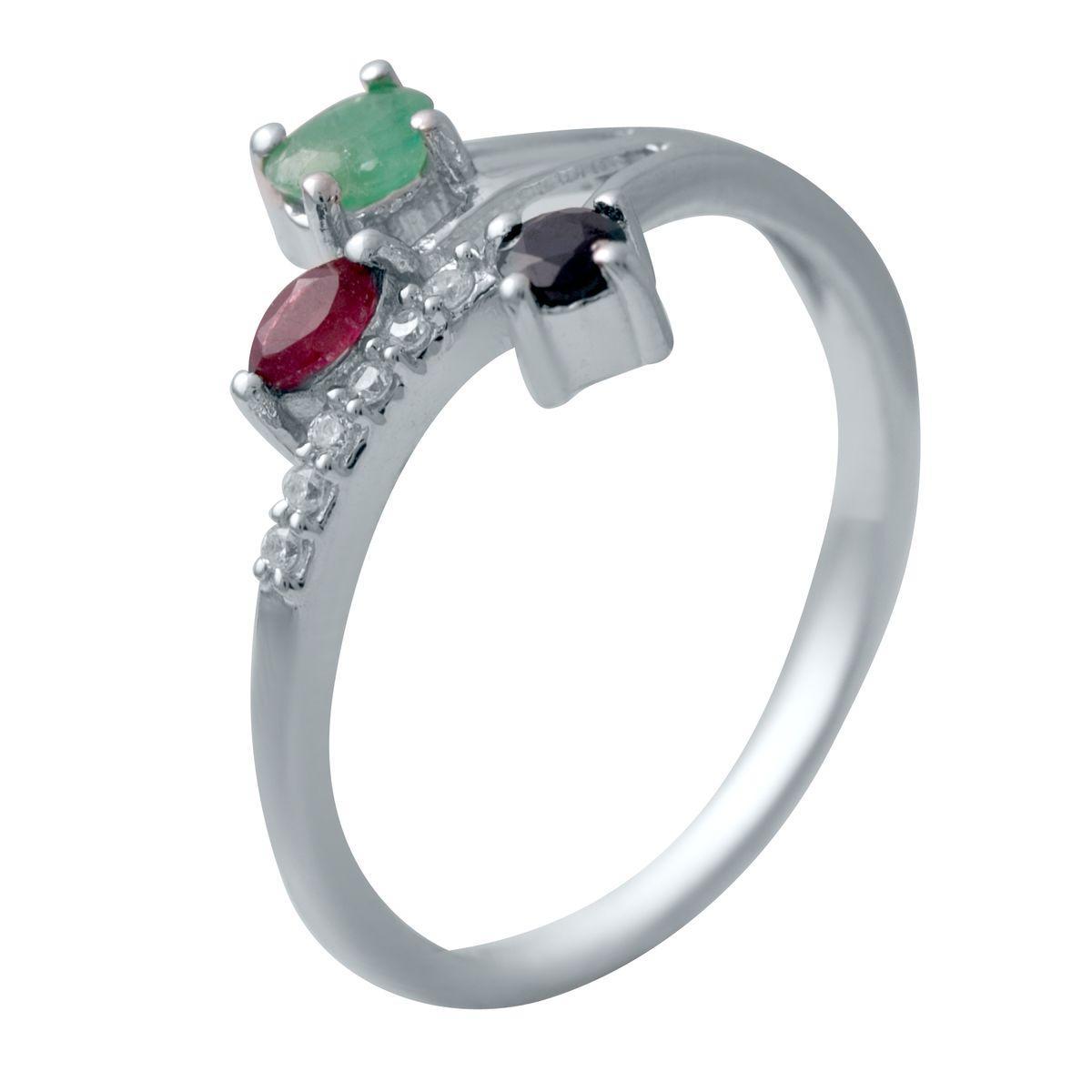 Серебряное кольцо DreamJewelry с натуральным изумрудом, рубином, сапфиром (2034049) 17.5 размер