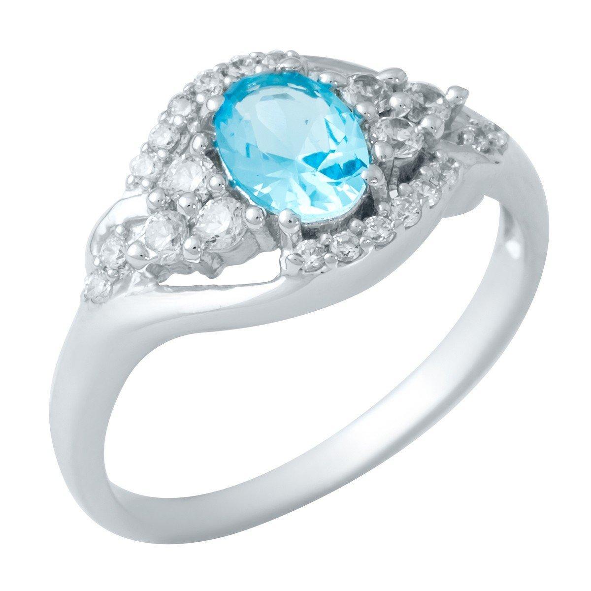 Серебряное кольцо DreamJewelry с аквамарином nano (1948828) 18 размер