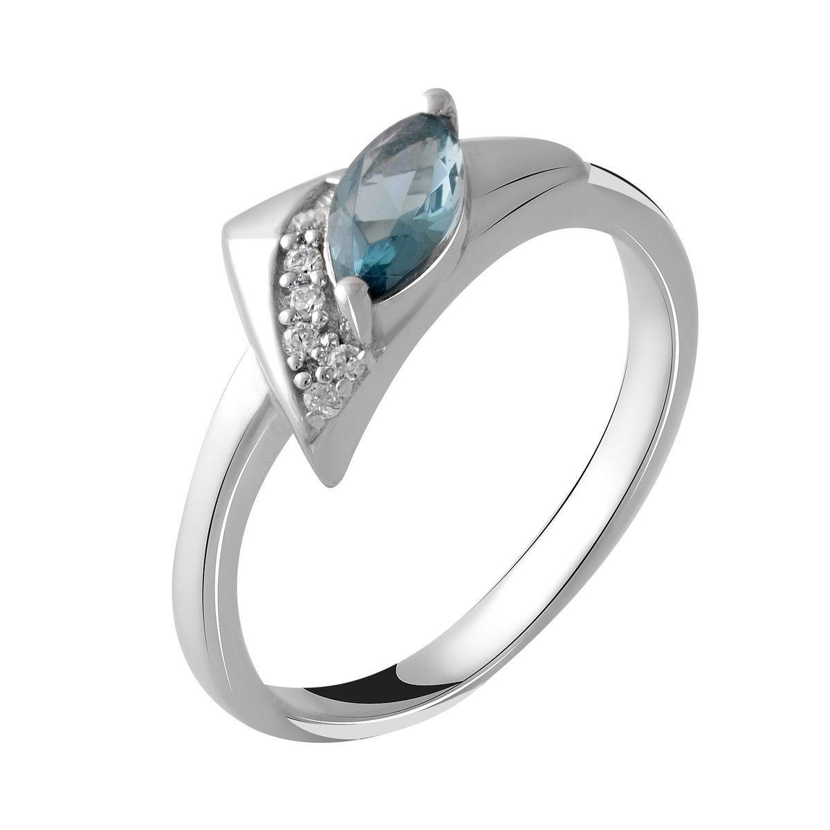 Серебряное кольцо DreamJewelry с натуральным топазом Лондон Блю 0.45ct (2049036) 18 размер