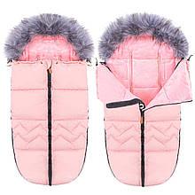 Детский конверт для коляски, санок 4 в 1 Springos SB0022 розовый. Детский спальный мешок для коляски -