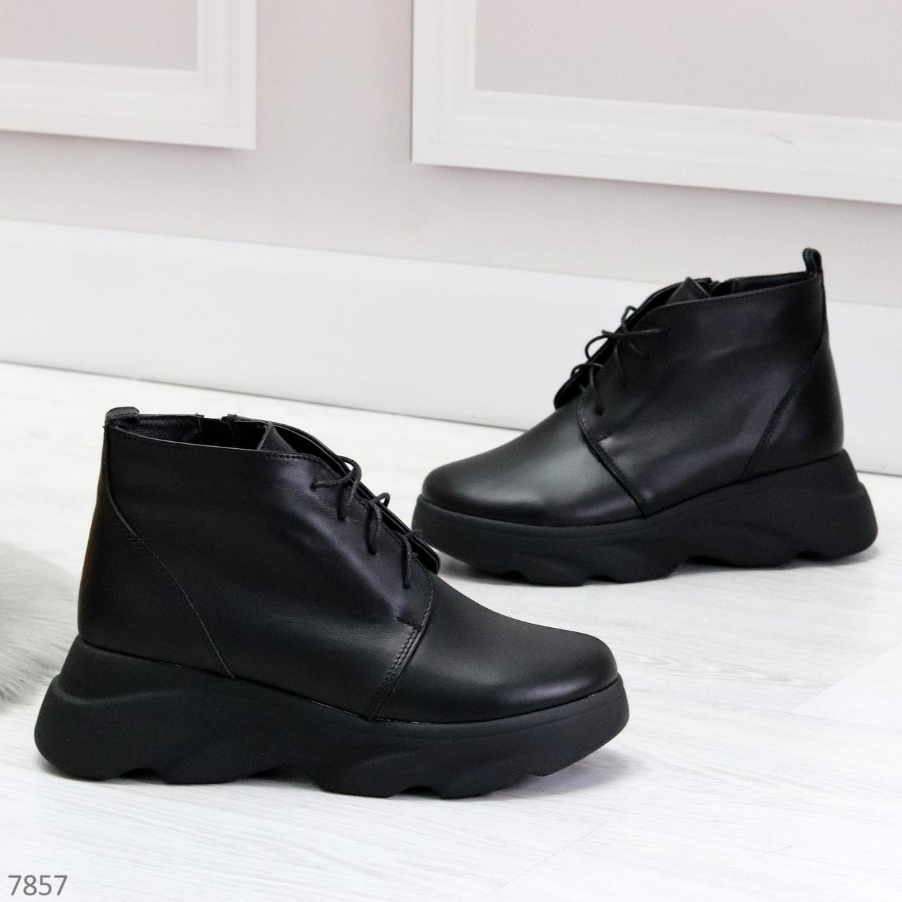 Трендовые повседневные черные женские ботинки из натуральной кожи