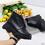 Трендовые повседневные черные женские ботинки из натуральной кожи, фото 2
