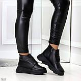 Трендовые повседневные черные женские ботинки из натуральной кожи, фото 3