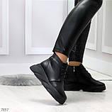 Трендовые повседневные черные женские ботинки из натуральной кожи, фото 5