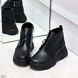 Трендовые повседневные черные женские ботинки из натуральной кожи, фото 6