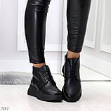 Трендовые повседневные черные женские ботинки из натуральной кожи, фото 7