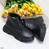 Трендовые повседневные черные женские ботинки из натуральной кожи, фото 8