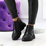 Трендовые повседневные черные женские ботинки из натуральной кожи, фото 10