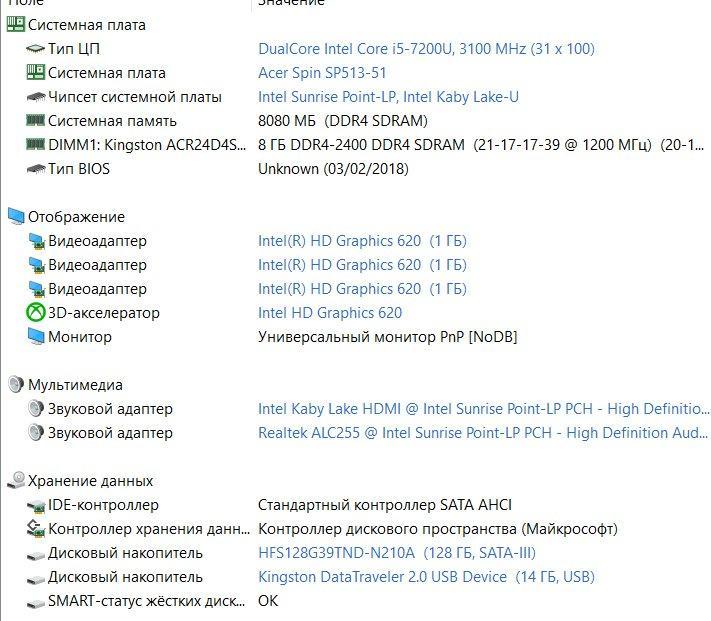 Б/У Acer Spin 5 SP513-51  13.3″ FullHD IPS  I5-7200U/DDR4 8 GB/SНет в наличии 9