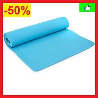 Коврик для йоги фитнеса спорта Йога коврик Фитнес коврик TPE + TC 183 x 61 x 0,6 см Голубой