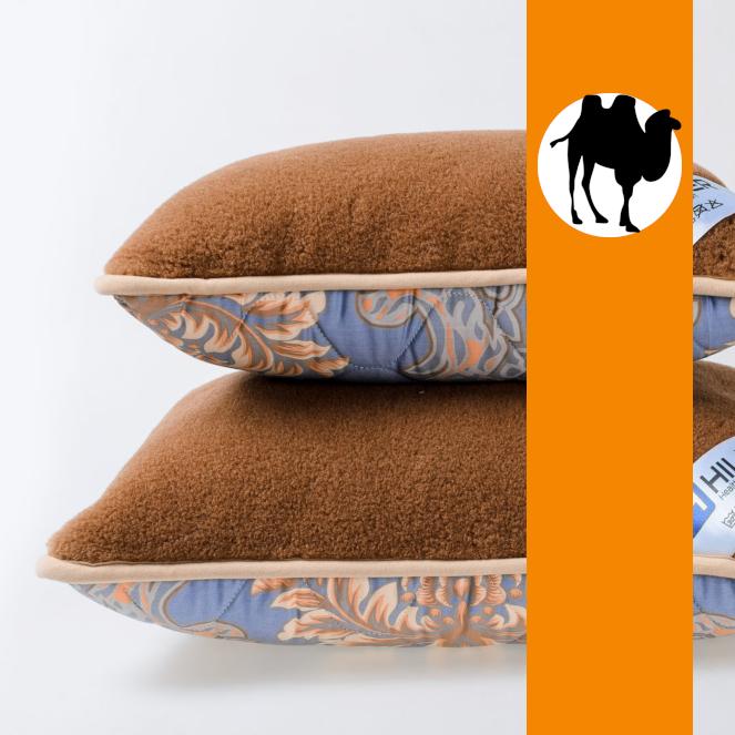 Подушка з вовни Верблюда з сатином Hilzer 40х40 см