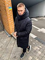 Куртка мужская зимняя с капюшоном черная   Куртка теплая ЛЮКС качества