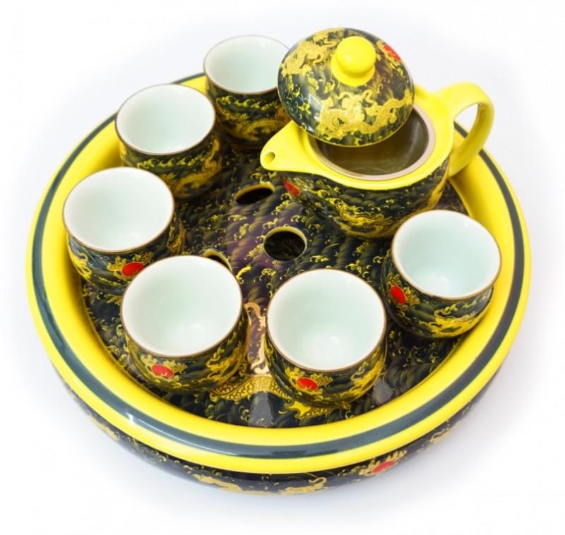 Набор чайный Желтые драконы на чёрном.