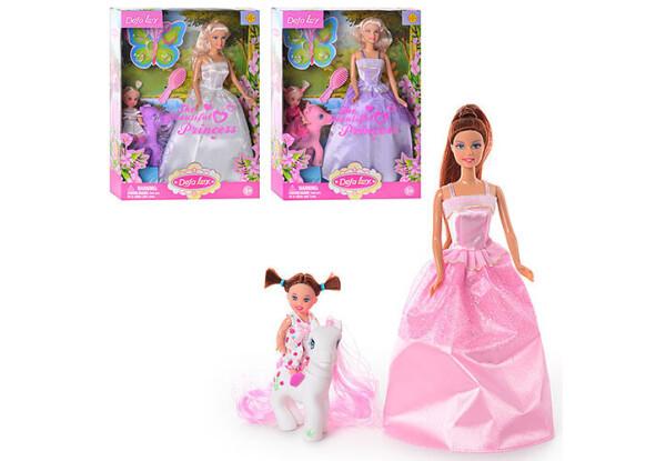 Кукла Defa с доченькой 8077 в нарядных платьях, с лошадкой и аксессуарами в комплекте (3 вида)