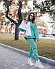 Р. 44-54 Женский двухцветный спортивный костюм на флисе ментол, фото 2