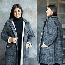 Пальто зимове в клітку на хутряній підстібці. кольори в асортименті.Р-н. 42-48,50-56 Код 152Б