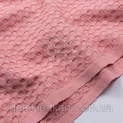 """Тканина """"Бельгійська вафелька"""" рожево-коралового кольору"""