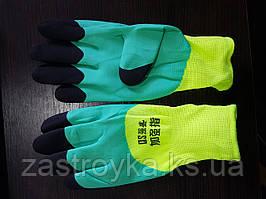 Защитные перчатки ПЕНА СУПЕР Х/Б черно-зеленые
