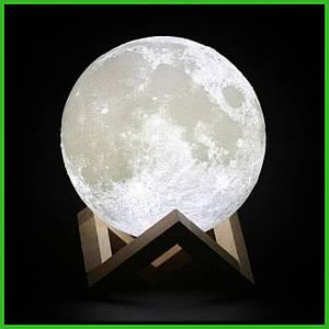 Дизайнерская, яркая cенсорная лампа ночник 3D MOON 18см.