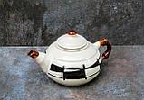 """Чайник 600 мл, декор """"Галаретка"""" чорно-білий, фото 2"""
