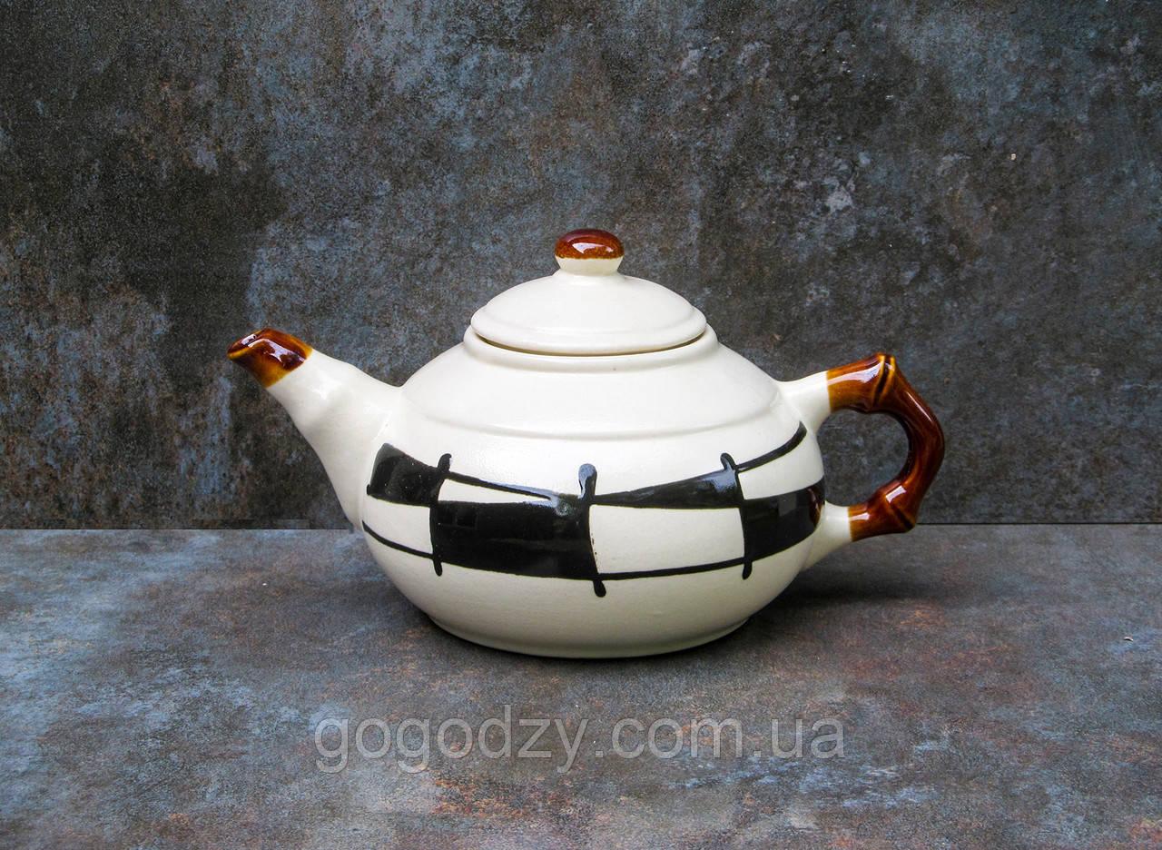 """Чайник 600 мл, декор """"Галаретка"""" чорно-білий"""