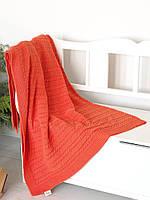 Плед вязаный 130x170 BETIRES SOHO ORANGE (80% хлопок, 20% полиэстер) оранжевый