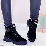 Только 38 р 24 см! Женские ботинки ЗИМА черные натуральная замша, фото 3