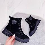 Только 38 р 24 см! Женские ботинки ЗИМА черные натуральная замша, фото 7