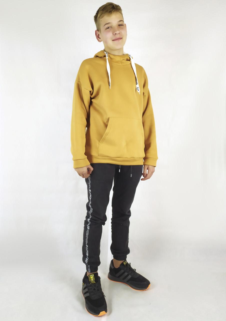 Модная мужская толстовка на зиму горчичного цвета с капюшоном S, M, L