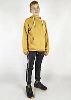 Модная мужская толстовка на зиму горчичного цвета с капюшоном S, M, L, фото 1