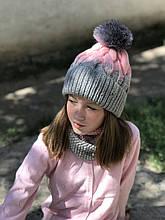 Вязаная детская шапка и снуд ручная работа.