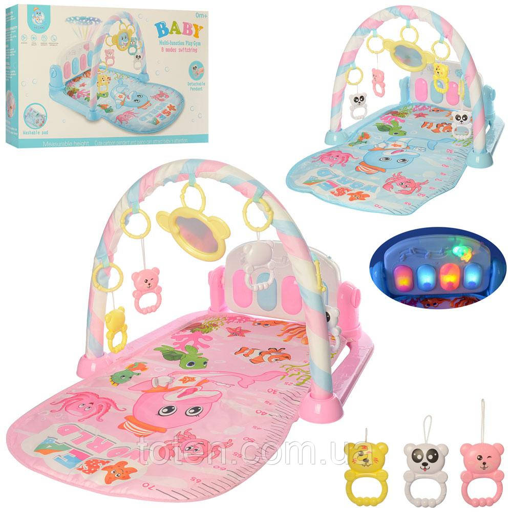 Килимок для немовляти 211, (73-47 см), дуга, підвіски, Піаніно, проектор, 2 кольори