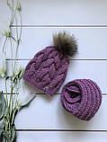 Вязаная шапка и хомут. Ручная работа., фото 3