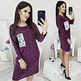 Платье-туника женское свободного кроя футляр осень-зима, цвета в ассортименте, р.42-46, Код 019L, фото 3