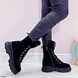 Женские ботинки ЗИМА черные со стразами натуральная замша, фото 4