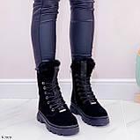Женские ботинки ЗИМА черные со стразами натуральная замша, фото 5