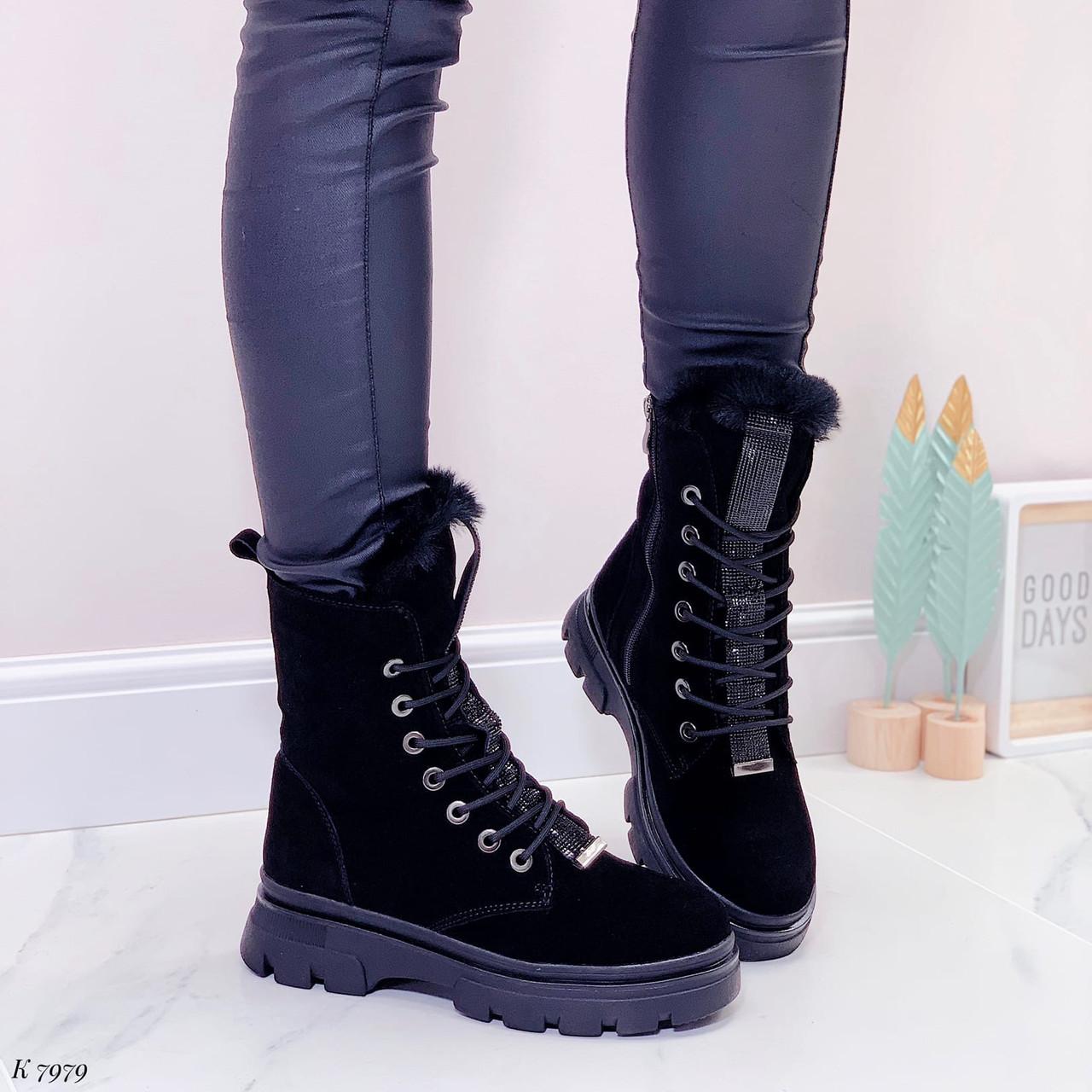 Женские ботинки ЗИМА черные со стразами натуральная замша