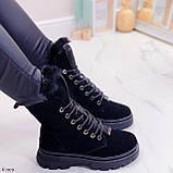 Женские ботинки ЗИМА черные со стразами натуральная замша, фото 2