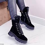 Женские ботинки ЗИМА черные со стразами натуральная замша, фото 8