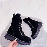 Женские ботинки ЗИМА черные со стразами натуральная замша, фото 6