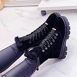 Женские ботинки ЗИМА черные со стразами натуральная замша, фото 7