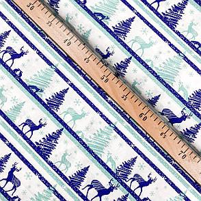 """Польская хлопковая ткань """"Олени, елки, лисы сине-бирюзовые"""", фото 2"""