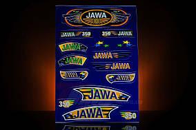 Наклейка  JAWA  (15шт, синий)