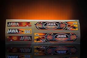 Наклейка  JAWA  (5шт, коричневый)