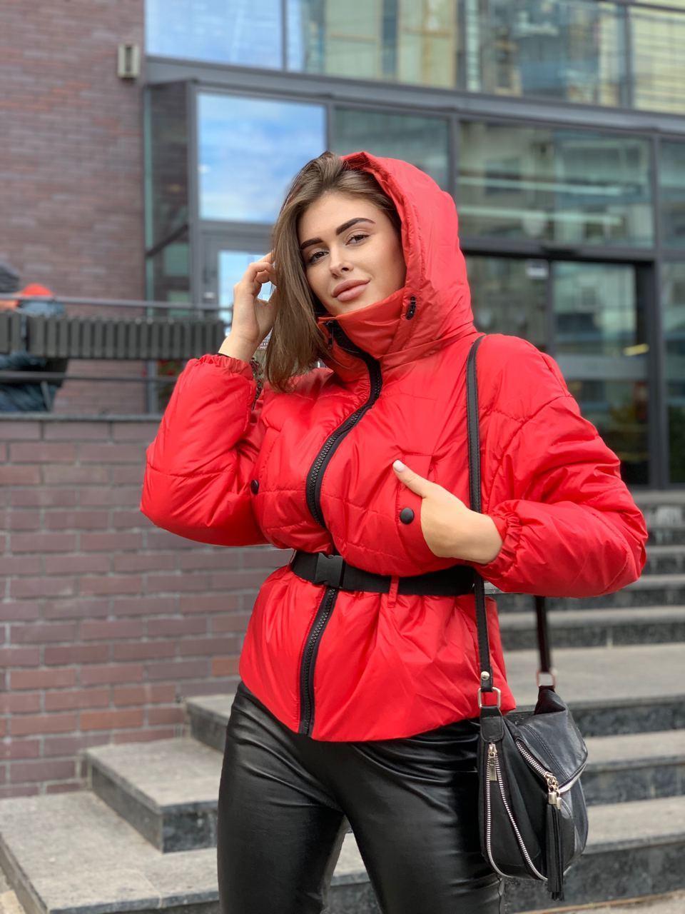 Стильная короткая женская куртка под пояс-резинку oversize 42-46 р