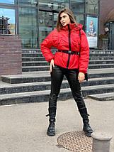 Стильная короткая женская куртка под пояс-резинку oversize 42-46 р, фото 3