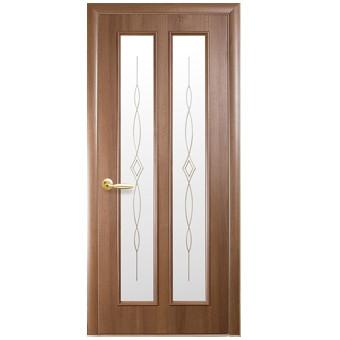 Двери Стелла ПВХ 2000 *600 мм золотая ольха с рисунком